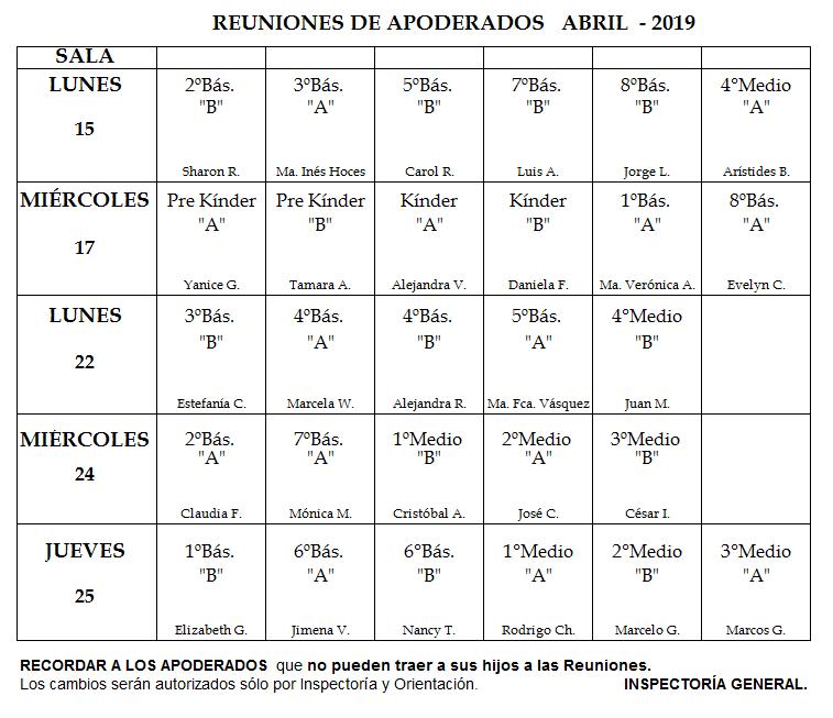 Reuniones Abril 15al25