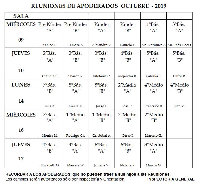 calendario reuniones octubre
