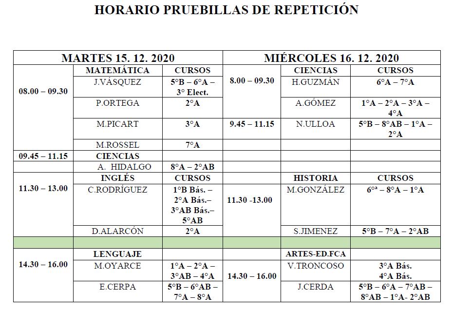 horario pruebillas de repeticion